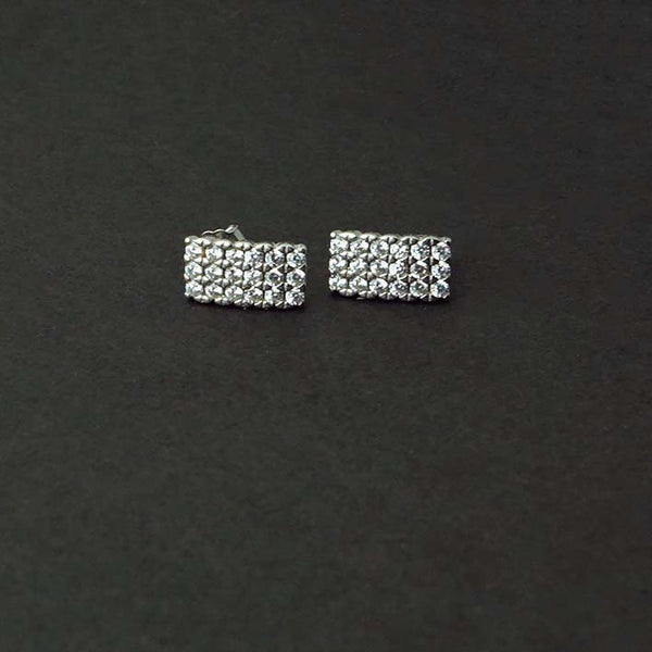Sterling Silver Rectangular Solitare Earrings
