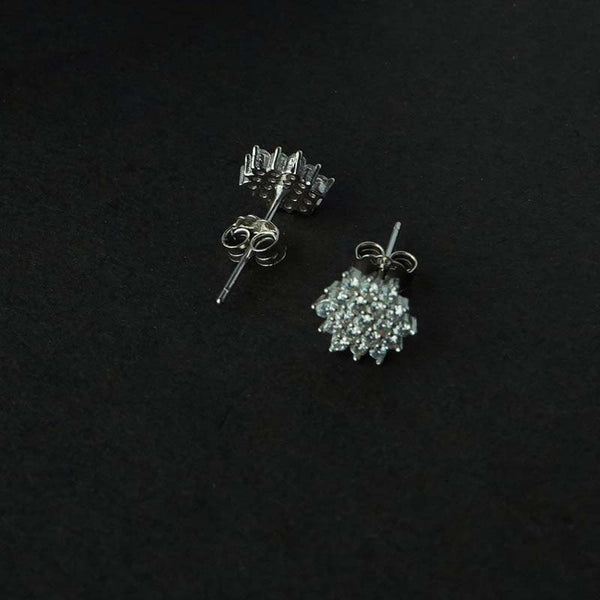 Sterling Silver Flower Classic CZ Stud