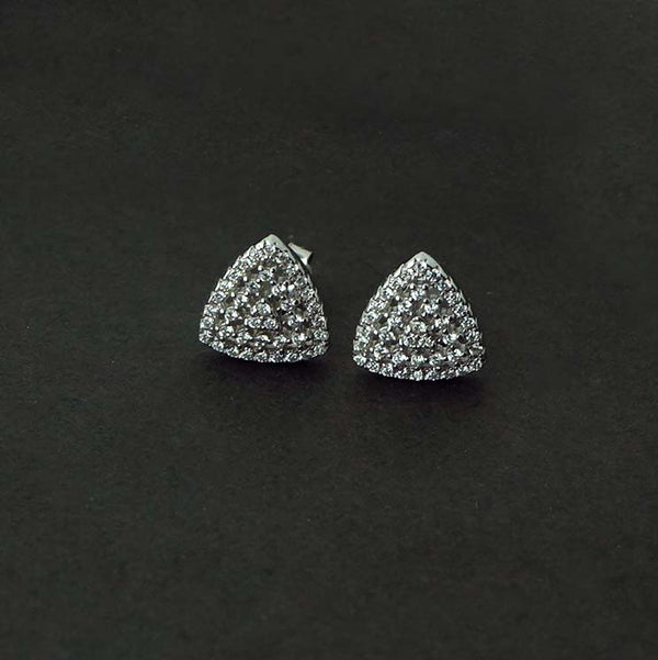 Sterling Silver Triangular Studded Stud