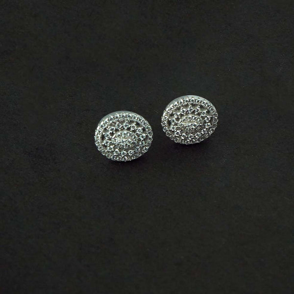 Sterling Silver Oval CZ Stud