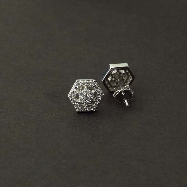 Sterling Silver Hexagon stud