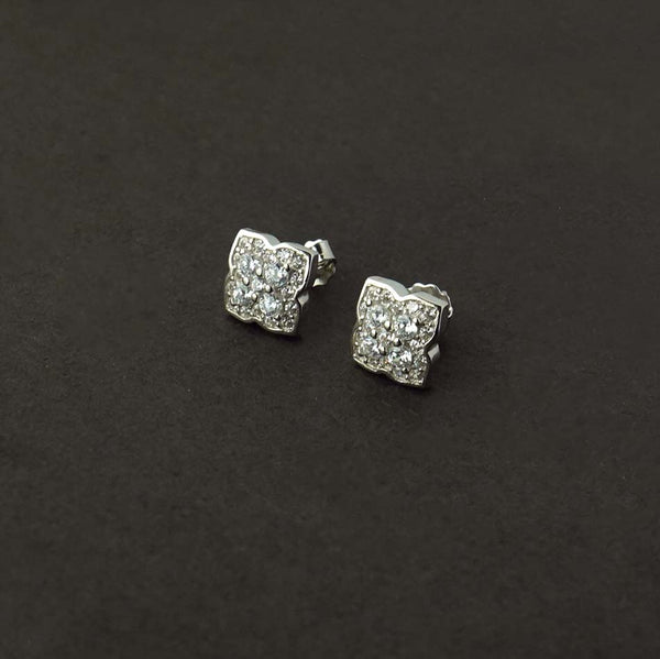 Sterling silver Flower Solitaire Studs