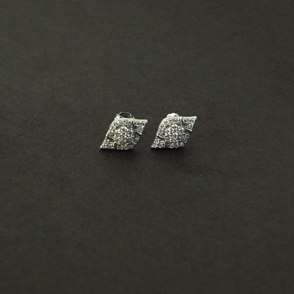 Sterling Silver Eye Shape Solitaire Studs