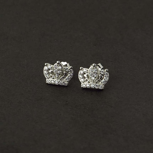 Sterling Silver Crown CZ Stud