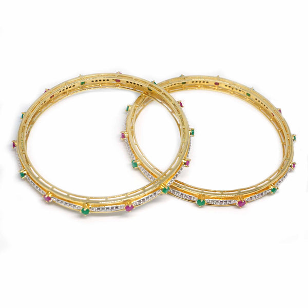Sterling silver Green And Red CZ Gold plated Bangle