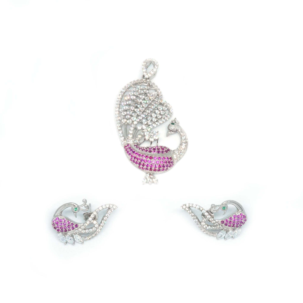 Sterling Silver Pink Peacock Pendant with Earrings