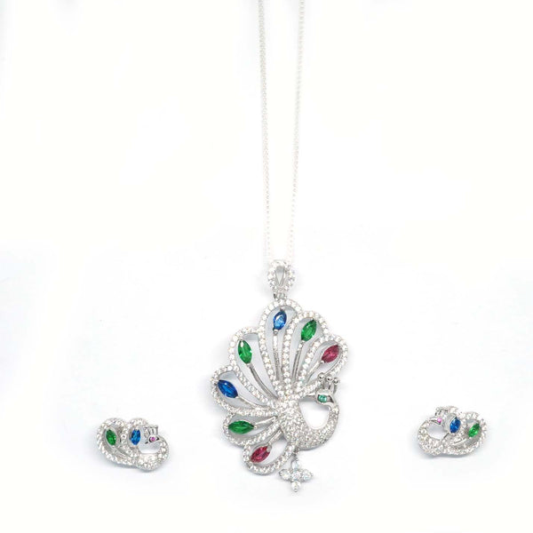 Sterling Silver Multicolour Peacock Pendant With earrings