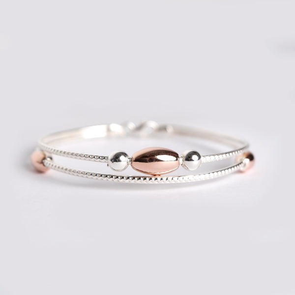 Sterling Silver Rose Gold Beaded Bracelet