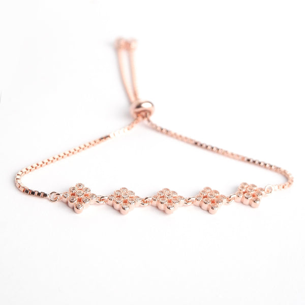 Sterling Silver Studded Rose Gold Bracelet