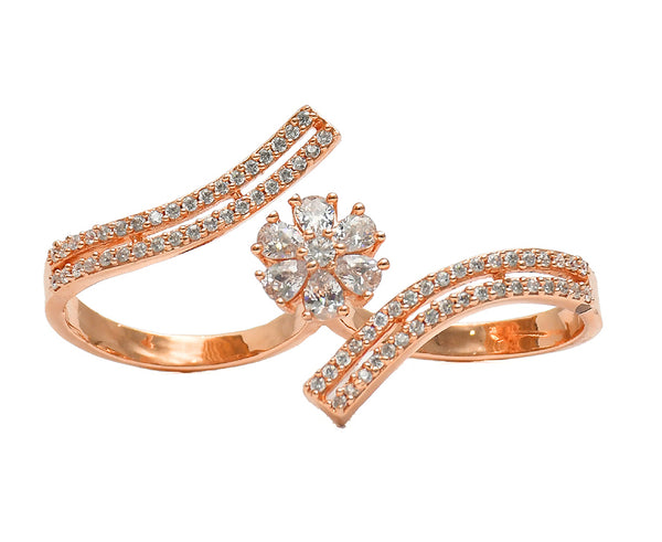 Sterling Silver Rose Gold CZ Two Finger Ring