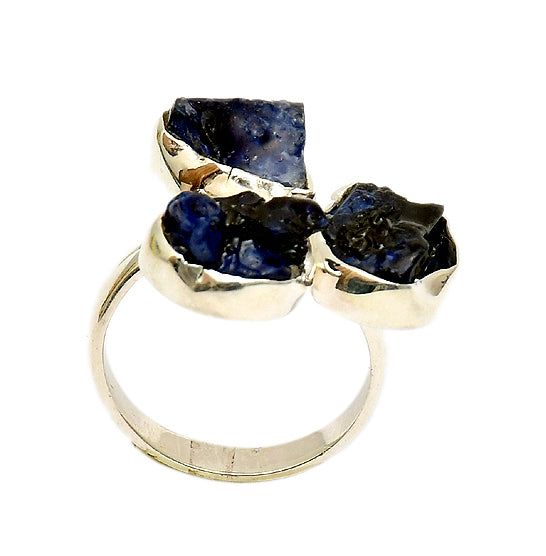 Sterling Silver Blue Cut Stone Ring