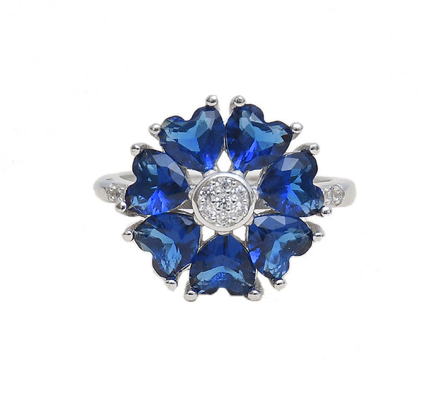 Sterling Silver Flower Blue Sapphire CZ Ring