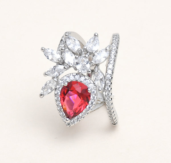 Sterling Silver Designer Synthetic Ruby & Solitaire Ring