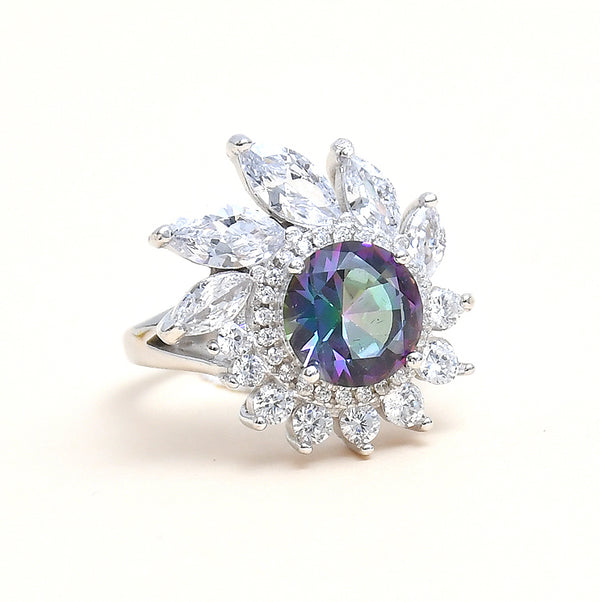 Sterling Silver Designer Multistone CZ  Ring