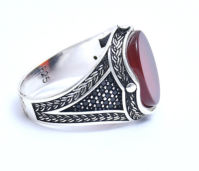 RITI- Sterling Silver Men's Oxidised  Red stone Ring