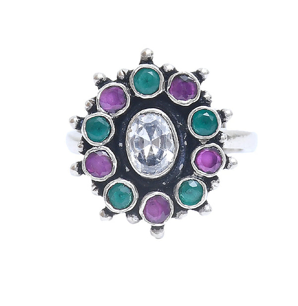 RITI-  Silver Oxidised Adjustable Ring