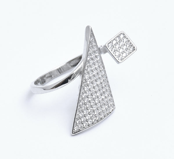 Sterling Silver Cubic Zirconia Triangular Adjustable Open Ring