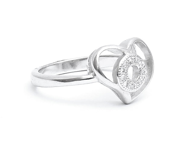 Double Hollow Heart CZ Silver ring
