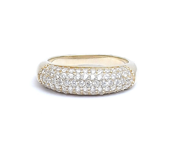 Sterling Silver Cubic Zirconia Gold Plated Unisex Ring