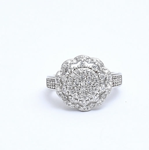 Sterling Silver Round Cubic Zirconia  Ring