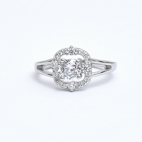 Sterling Silver Cushion Shaped Solitaire Halo Ring