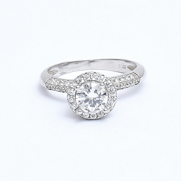 Sterling Silver Glamorous Engagement Ring