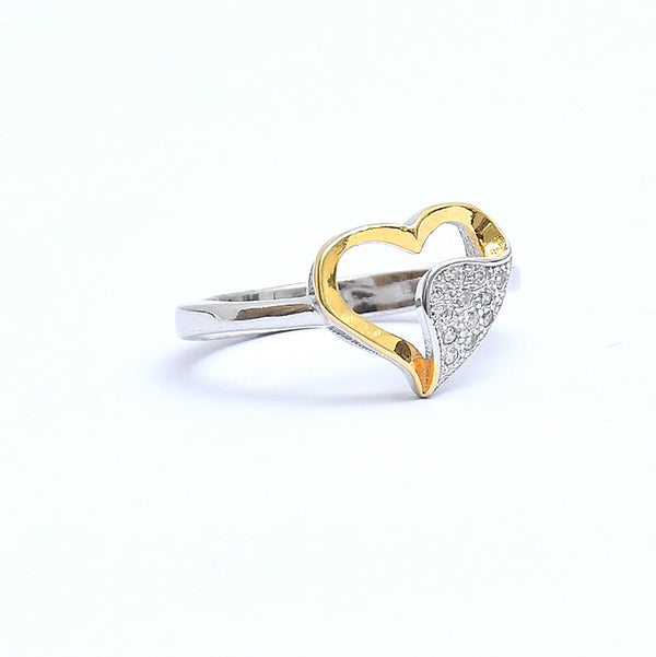 Silver Gold Plated Fancy Love Ring
