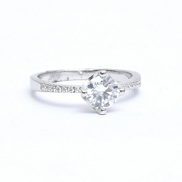 Sterling Silver Single  pointer CZ Stone Ring