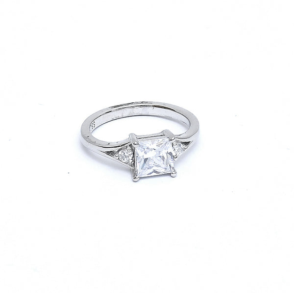 Sterling Silver Cubic Zirconia 3 Stone Ring