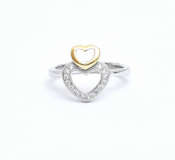 Sterling Silver Stylish Double Heart Ring