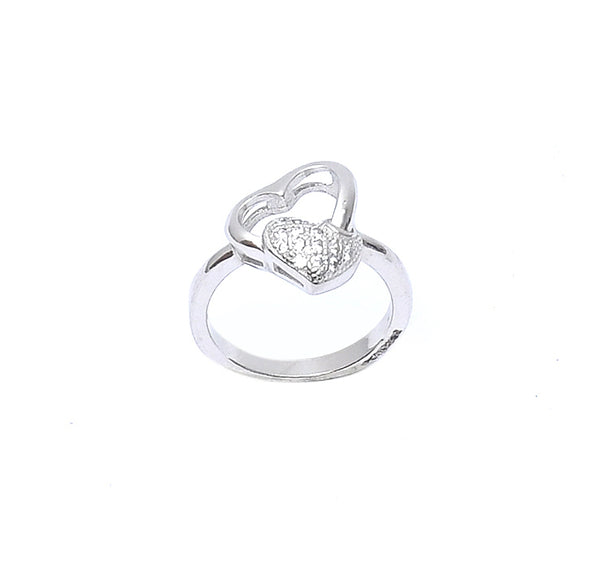 Sterling Silver Double Heart Silver Ring
