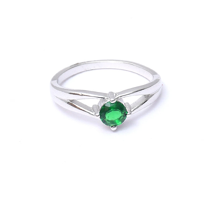 Sterling Silver Rhodium Emerald Ring
