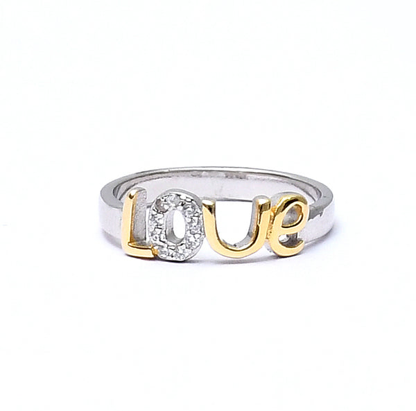 Sterling Silver Gold Plated Fancy Love Ring