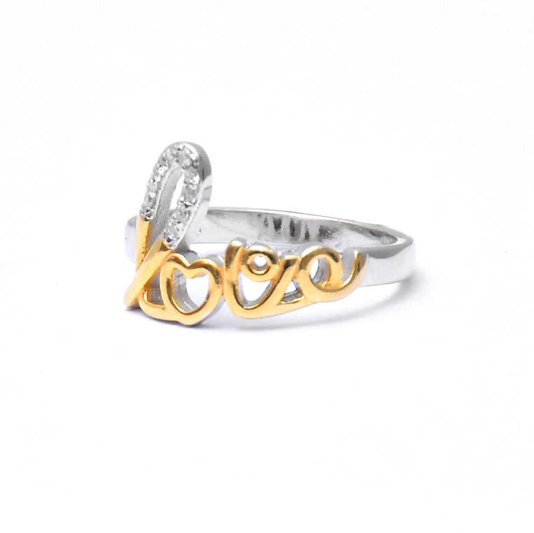 Sterling Silver Gold plated Designer Love ring