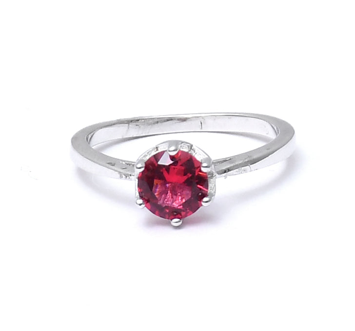 Sterling Silver Single Pointer Red Stone Ring