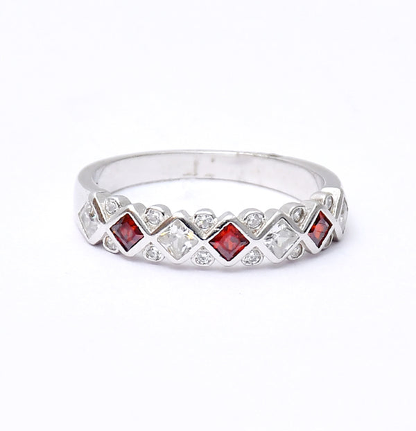 Sterling Silver Exclusive Ring With Red Stone