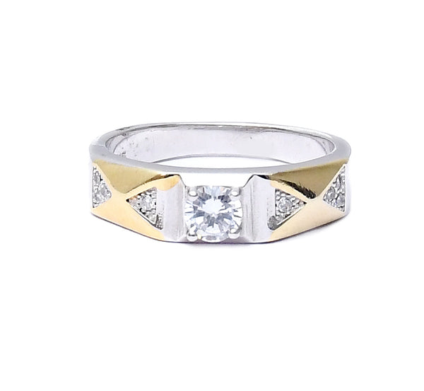 Sterling Silver Unisex Gold Plated Solitaire Ring