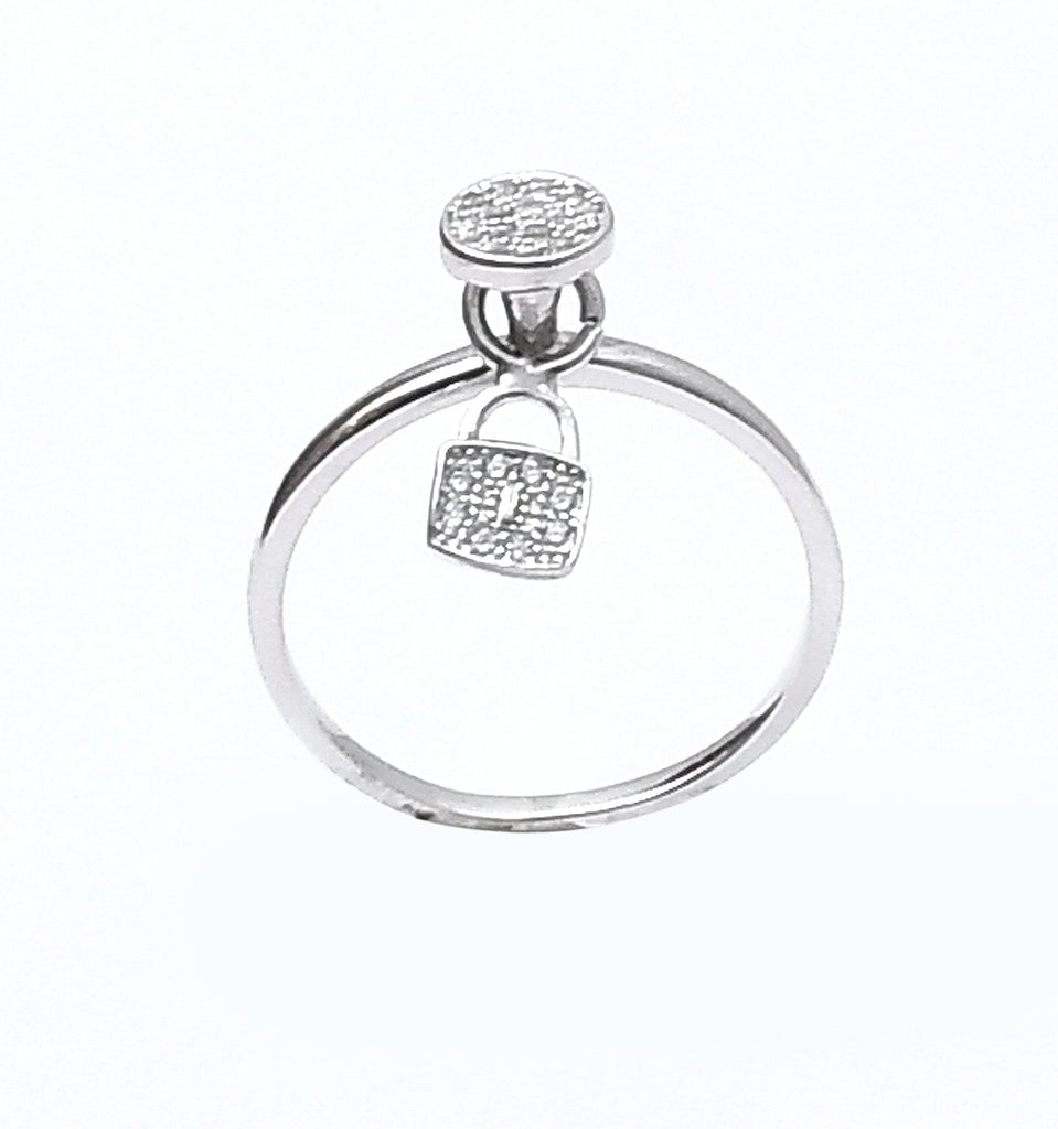 Sterling Silver Hanging Lock Pointer Solitaire Girl's Ring