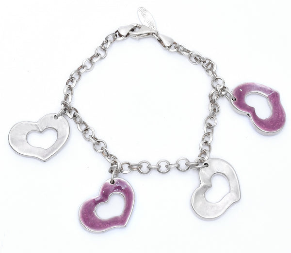 Sterling Silver Four Hanging Heart Bracelet