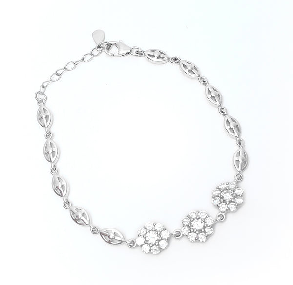 Sterling Silver Three flowers CZ Bracelet