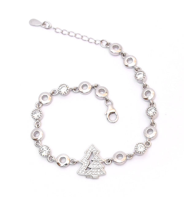 Sterling Silver Christmas Tree Bracelet