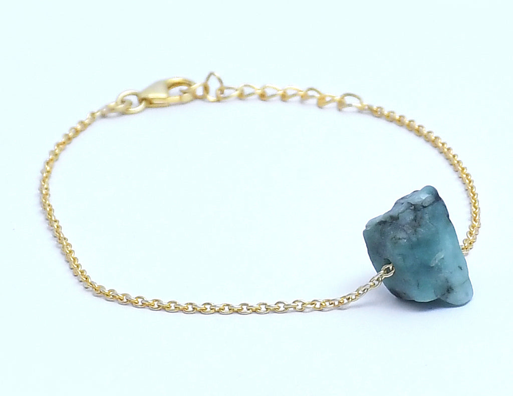 Gold Plated Green Stone Bracelet