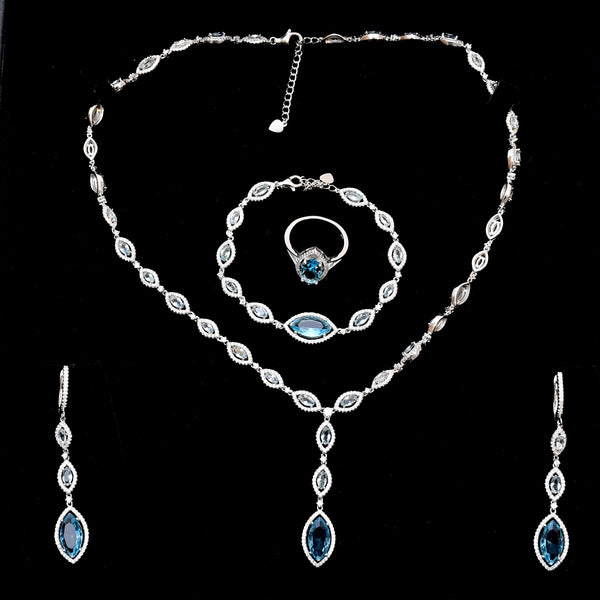 Silver Aqua Stone CZ Necklace Set with Ring & Bracelet