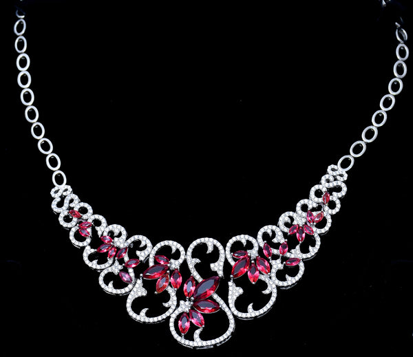Pink Stone Sterling Silver Necklace Set with Ring & Bracelet