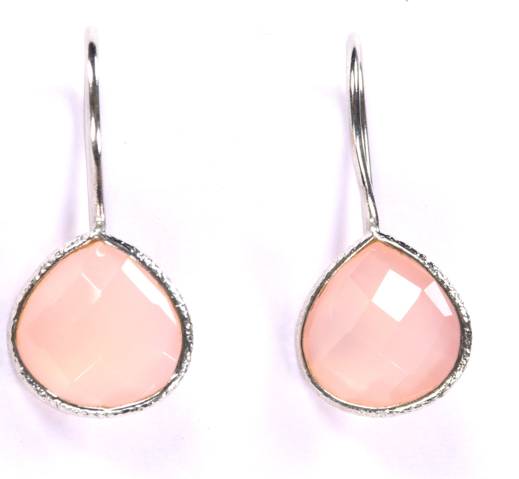 Sterling Silver Pink Stone Drop Earrings