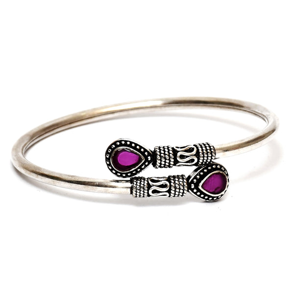 Sterling Silver Pink Stone Bangle