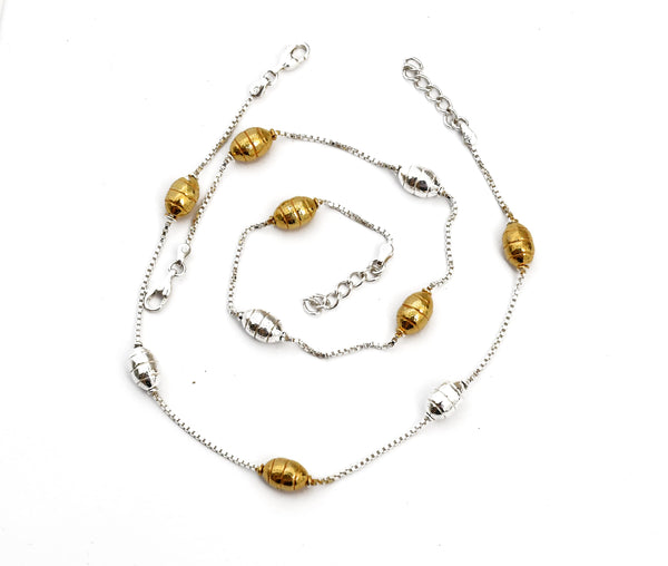 Silver Golden Ball Anklet