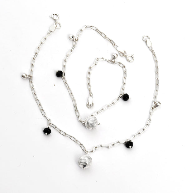 Silver Hanging Ball Anklet