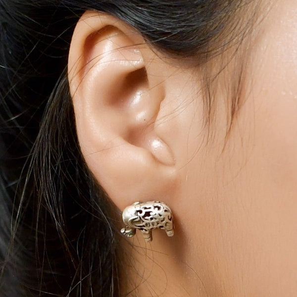 Sterling Silver Oxidised Elephant Stud Earring