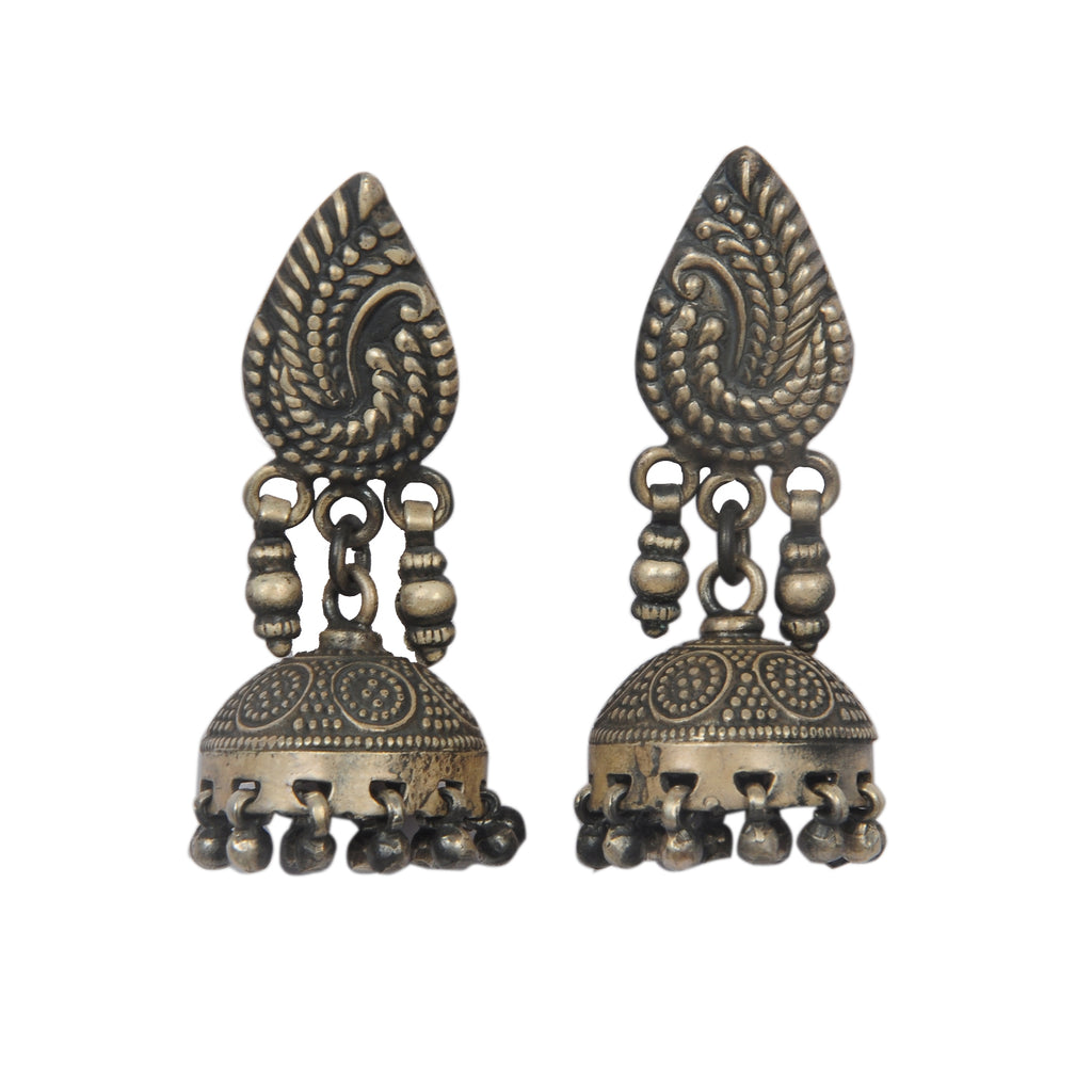 Sterling Silver Oxy Antique Rajasthani Jhumka